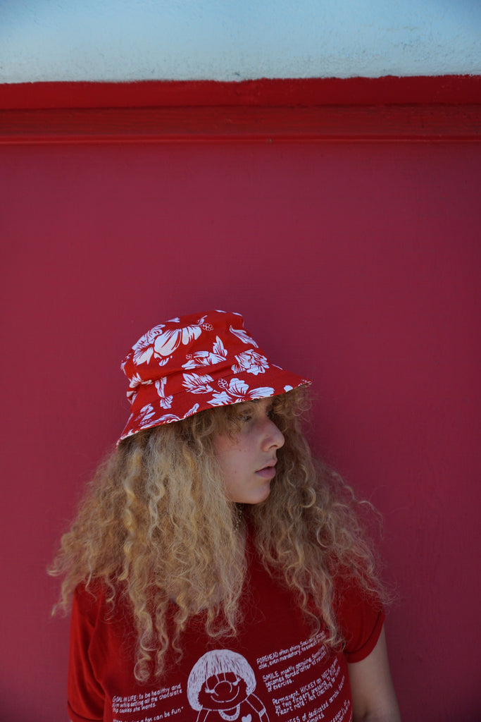 SALE Fisherman's Hat, Red Hibiscus, Sz. M