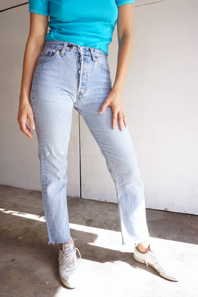 SALE Levi's 501 Jeans Patched Medium Wash, Sz. 26 x 28
