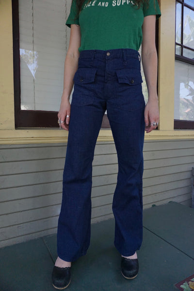 70s Bell Bottom Sailor Jeans w/ Flap Pockets, Multiple Sizes
