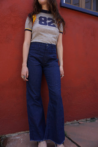 70s High Waisted Sailor Jeans, 27.5 x 31