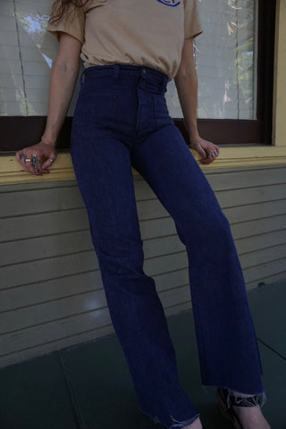 70s High Waisted Sailor Jeans, Sz. 26.5 x 30