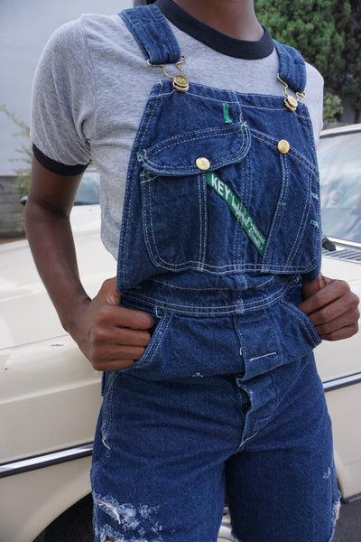 Dark Denim Overall Shorts, Sz. 26 Waist