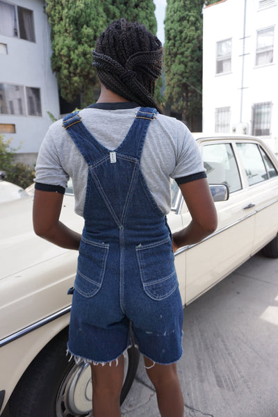 SALE Dark Denim Overall Shorts, Sz. 26 Waist