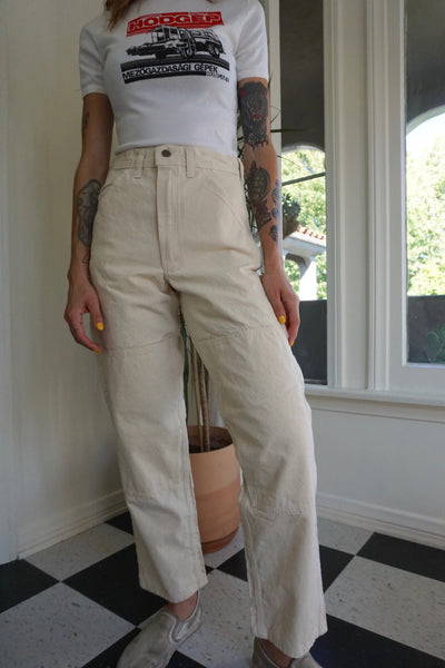 High Waisted Off White Painter's Pants, 27.5 x 29