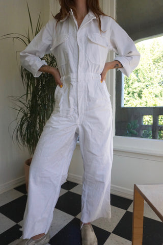 Coveralls White Cotton Twill, Up to 33 Waist