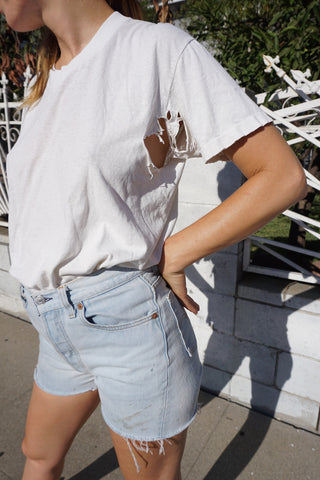 Vintage Distressed White Tee, Sz. M