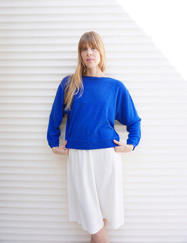 SALE Vintage DVF Sweater Wool Blue 80s Sz. S-L