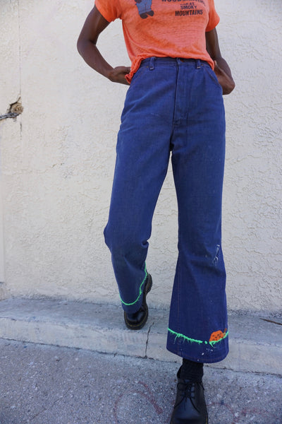 SALE 70s Embroidered Wrangler Flare Jeans Sz. 27.5 x 30