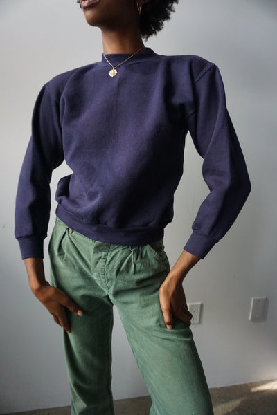 70s Navy Russell Athletic Sweatshirt, Sz. S