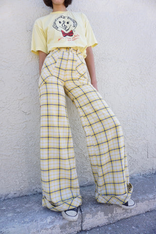 SALE 1970s High Waist Plaid Bell Bottoms, Sz. 23.5 x 31