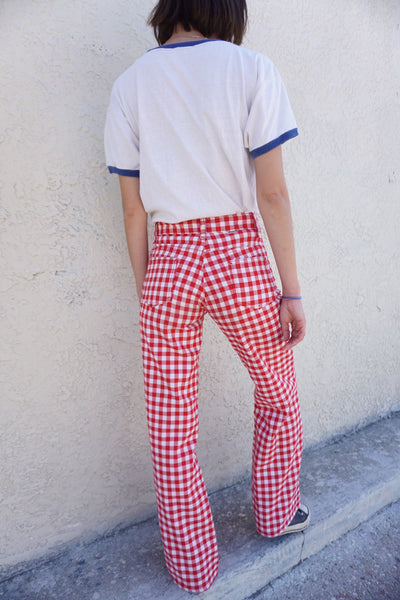 SALE 70s Gingham Bell Bottoms, 25 x 31