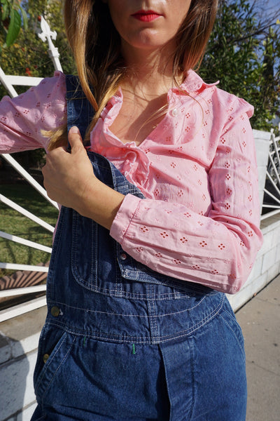 SALE 70s Bubble Gum Eyelet Shirt, Sz. XS
