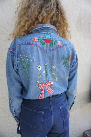 70s Embroidered Chambray Shirt Sz. M-L