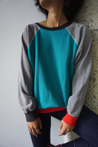 80s Color Block Raglan Sweatshirt, Sz. M