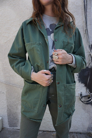 SALE Chore Jacket Utility Green Cotton, Multiple Sizes