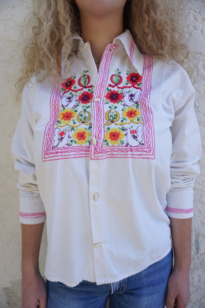 SALE 70s Embroidered Cotton Shirt Sz. M