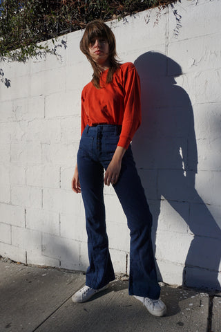 1970s Sailor Jeans High Waist Sz. 26 x 31.5