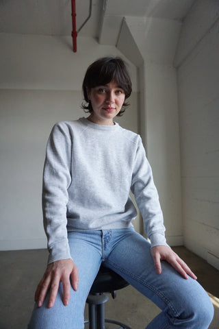 80s Light Heather Gray Raglan Sweatshirt, Sz. S