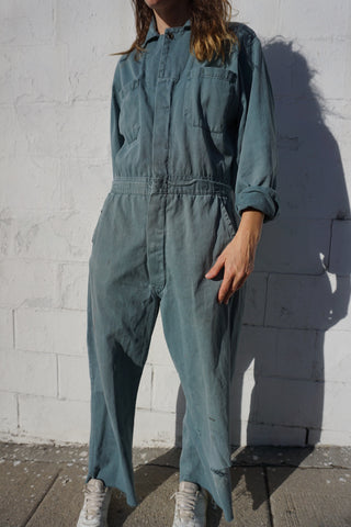 "Green Cotton Coveralls, Distressed, Up to 34"" Waist"