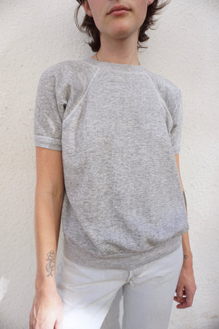 SALE Heather Gray Short Sleeved Sweatshirt, Sz. M