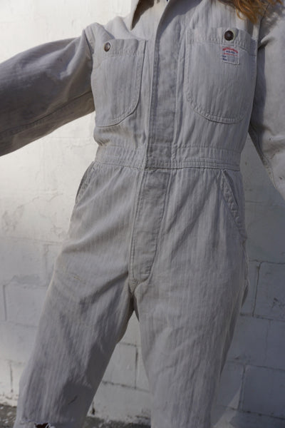"1950s Distressed White Herringbone Cotton Coveralls 33"" Waist"