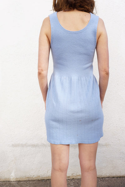 SALE Knit Dress Ribbed Wool Pale Blue 70s Mini Length Sz. S-M