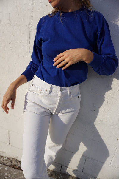 Cotton Long Sleeve, Cerulean Blue