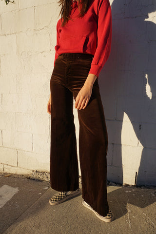70s Chocolate Velvet Bell Bottoms Sz. 26 x 30.5
