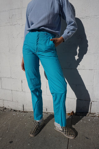 SALE Turquoise Painter's Pants, High Waist