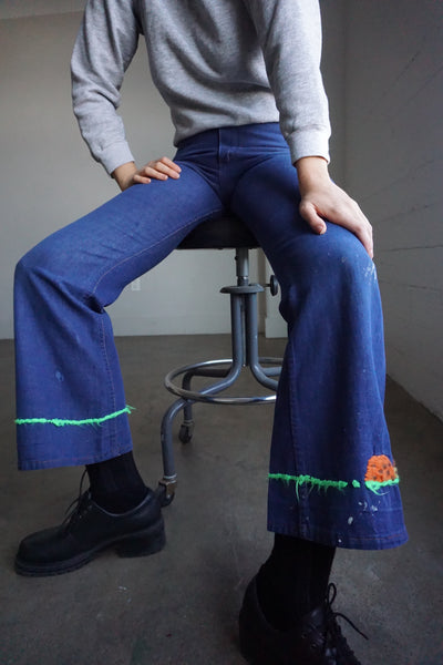 70s Embroidered Wrangler Flare Jeans Sz. 28 x 30