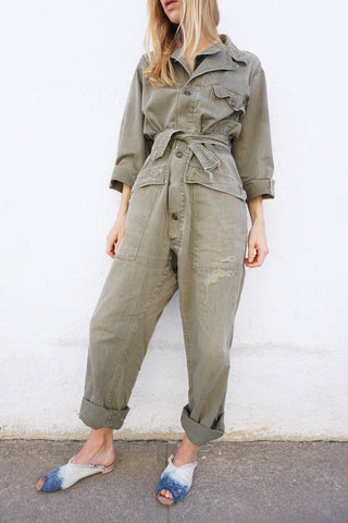 "Flight Suit Coveralls 1940s Sz. Up to 32"" Waist"