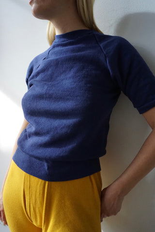 70s Navy Short Sleeve Sweatshirt, Sz. XS