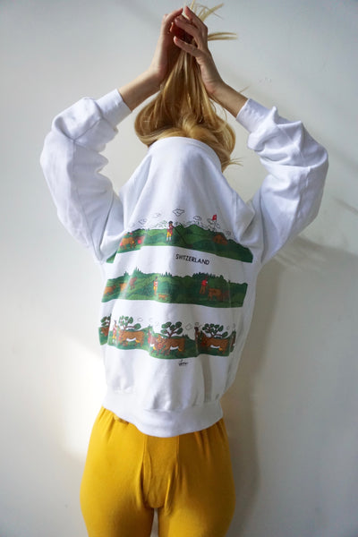 SALE 80s Switzerland Sweatshirt, Sz. M-L