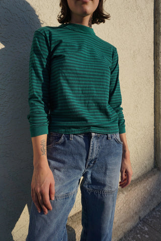 SALE Green Striped Crew Neck Shirt, Sz. XS