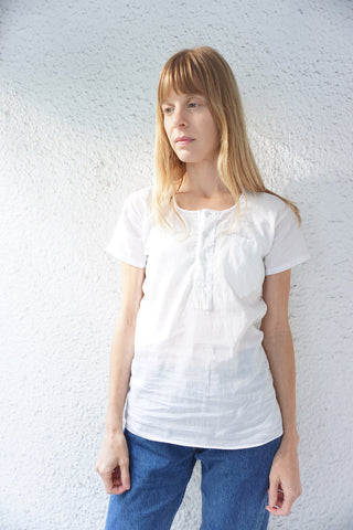 SALE Sheer White Tshirt Ribbed Cotton, Henley Style Sz. S-M