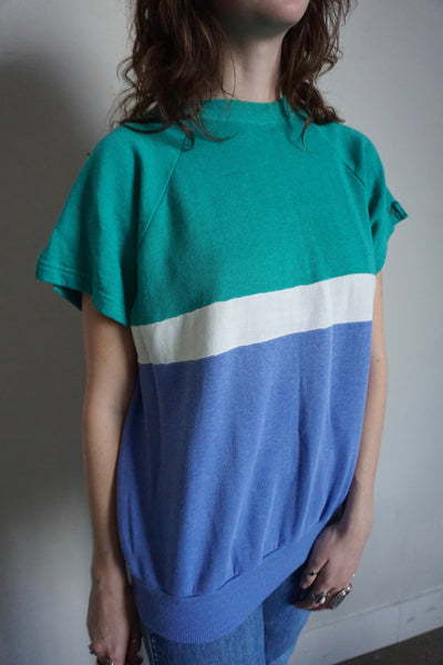 Tri-color Short Sleeve Sweatshirt, Sz. M - L