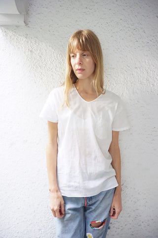 SALE White Tshirt Sheer Ribbed Cotton, Scoop Neck Sz. M