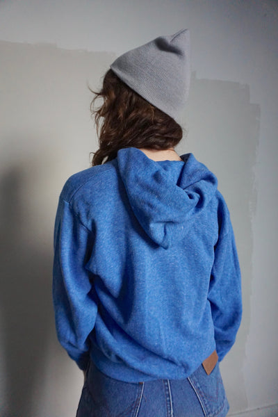 SALE Heathered Blue Hooded Zip Up Sweatshirt, Sz. S