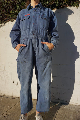 "Blue Cotton Coveralls, Sz. Up to 32"" Waist"
