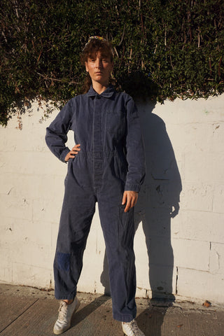 "Blue Herringbone Cotton Coveralls w/ Patch, Sz. Up to 36"" Waist"