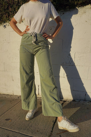 1970s Sailor Pants, Sage Green, Sz. up to 31 Waist x 29