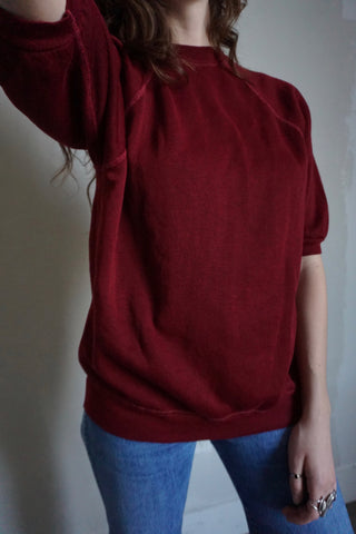 SALE Burgundy Short Sleeve Sweatshirt, Sz. M - L