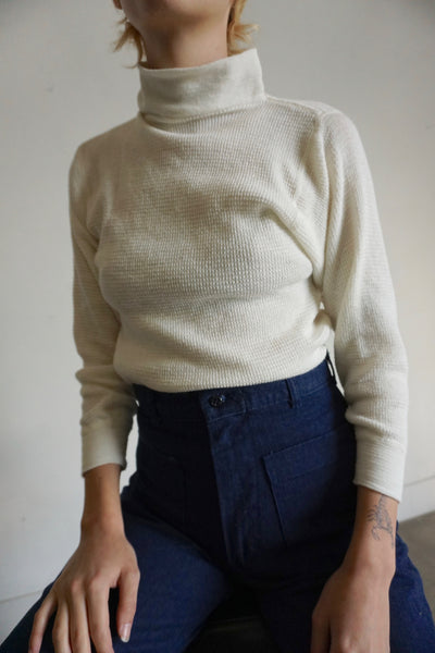 90s Thermal Mock Neck Shirt, Sz. S