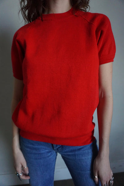 SALE Candy Apple Short Sleeve Sweatshirt, Sz. M