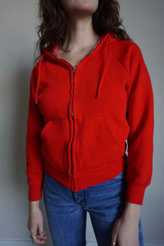 Cherry Red Hooded Zip Up Sweatshirt, Sz. S