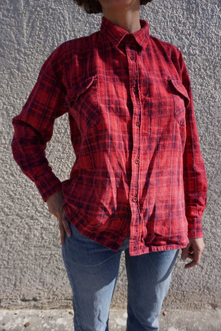 SALE Red Plaid Flannel Shirt, Vintage 80s Sz. M-L