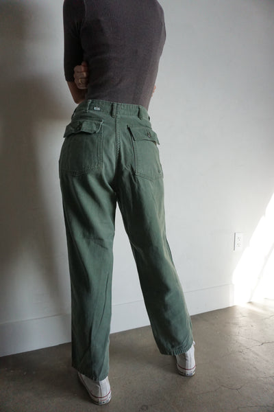 High Waisted 70s Army Pants, Sz. 27 x 27