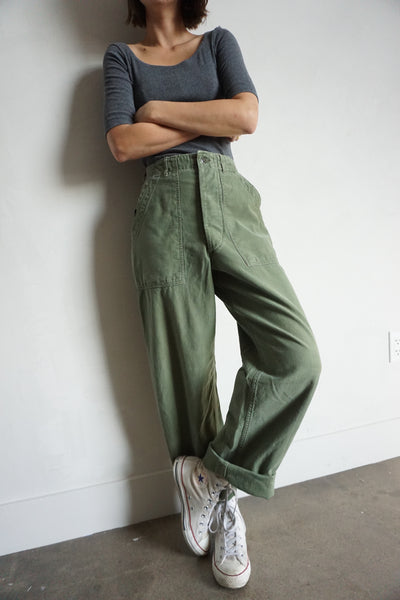 Ultra High Waist 70s Army Pants, Sz. 25 - 26 x 30