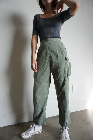 High Waist 60s-70s Army Pants, Sz. 24.5 x 26.5