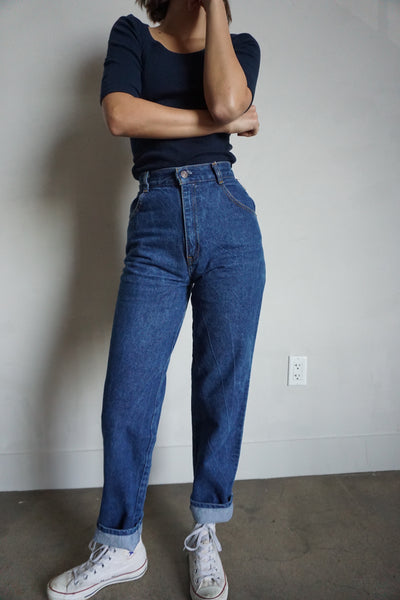 High Waisted Dark Wash Levi's Jeans, Sz. 24 x 30
